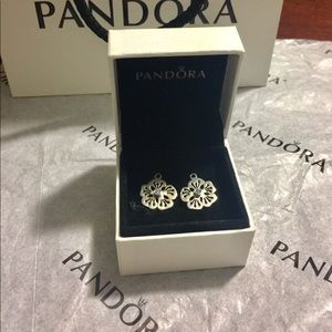 Pandora hibiscus earrings